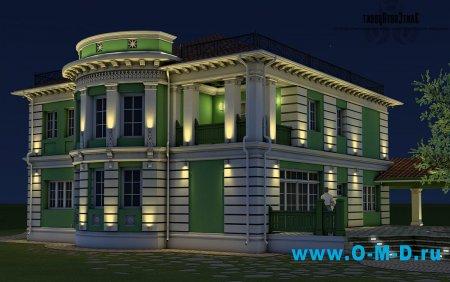 Освещение фасадов частных коттеджей