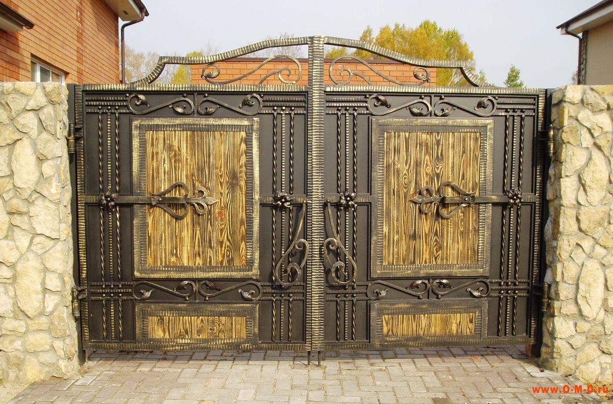 Входные ворота с калиткой в частном доме своими руками 47