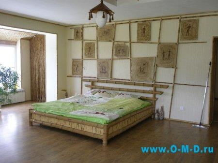 Отделка стен обоями из бамбука