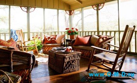 Внутреннее оформление веранды в загородном доме