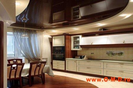 Натяжной потолок для уютной кухни